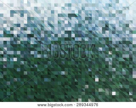 Vector Abstract Green Background Of Water. Wallpaper Of Natural Element In Mosaic Style. Vector Illu