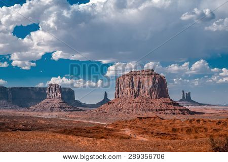 Cloudy Sunset View Landscape At Monument Valley, Arizona, Usa. Western Movies Scenery