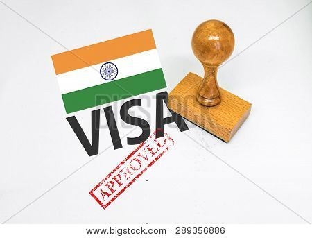India Visa Approved With Rubber Stamp And Flag