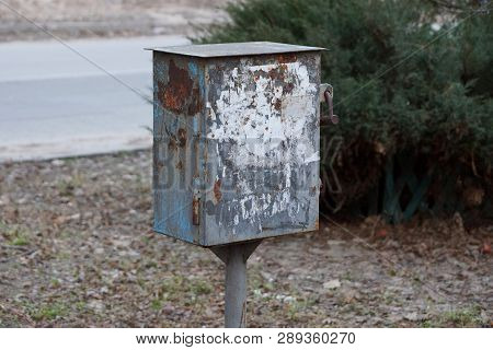 Old Dirty Metal Box For Electricity In The Street