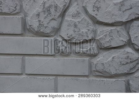 Gray Texture Of Bricks And Stones In The Wall