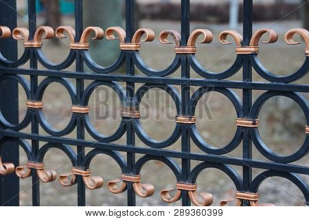 Brown Black Metal Background Of Iron Rods In Forged Pattern