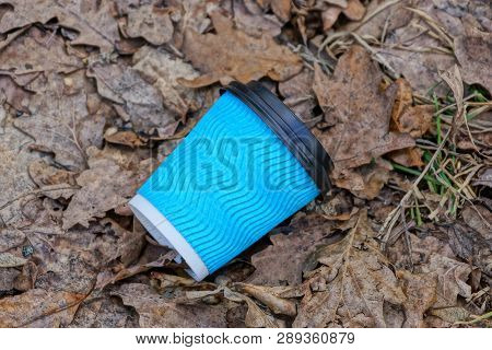 Blue Paper Cup Litter Lies On Dry Brown Leaves And Grass
