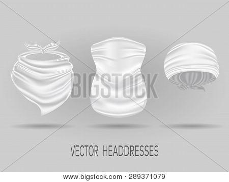 White Head Bandanas, Neck Scarf And Buff. Realistic Vector