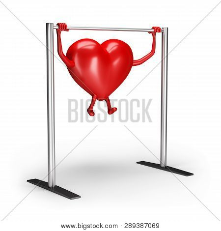 3d Heart Character Does Exercises On The Crossbar. 3d Image. White Background.