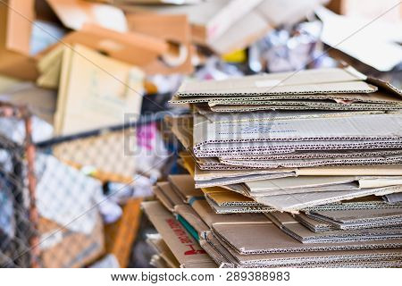 Paper Packed And Cardboard Corrugated Paper Ready To Recycle In Sorting Garbage