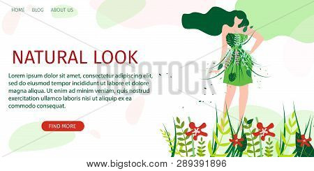 Horizontal Flat Banner Natural Look Fashion Show. Vector Illustration On Background  Blue Clouds. Ha