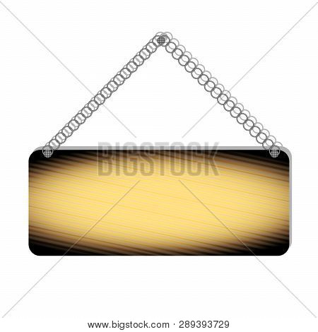 Realistic Burnt Wooden Bulletin, Sign Board, Suspended On A Metal Chain, Isolated On A White Backgro