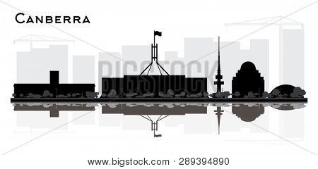 Canberra Australia City Skyline Silhouette with Black Buildings and Reflections Isolated on White. Tourism Concept with Historic Architecture. Canberra Cityscape with Landmarks.