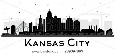 Kansas City Missouri Skyline Silhouette with Black Buildings Isolated on White. Business Travel and Tourism Concept with Modern Architecture. Kansas City Cityscape with Landmarks.