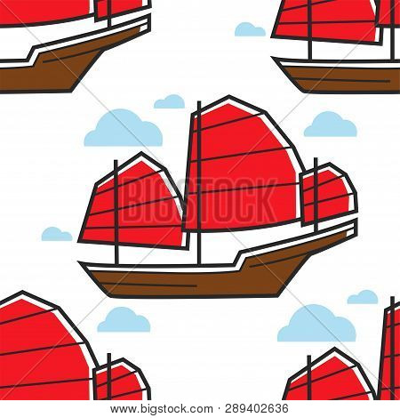 Chinese Seamless Pattern Sailboat Or Junk Ship Marine Vessel