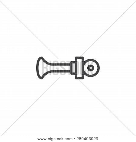 Vehicle horn line icon. linear style sign for mobile concept and web design. Car beep outline vector icon. Symbol, logo illustration. Pixel perfect vector graphics poster