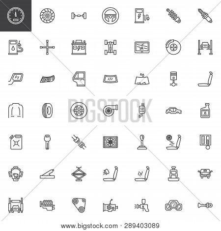 Car Parts Line Icons Set. Linear Style Symbols Collection, Outline Signs Pack. Vector Graphics. Set