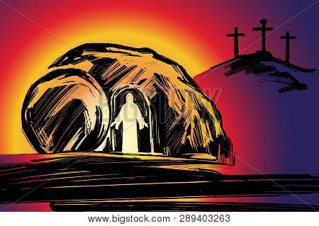 Easter Jesus Christ Rose From The Dead. Sunday Morning. Dawn. The Empty Tomb In The Background Of Th