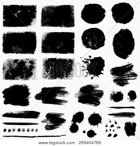 Paint Brush Strokes, Grunge Stains And Ink Blots Isolated On White Background. Black Vector Design E