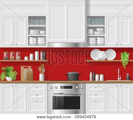 Modern White Rustic Kitchen With Red Background , Vector , Illustration