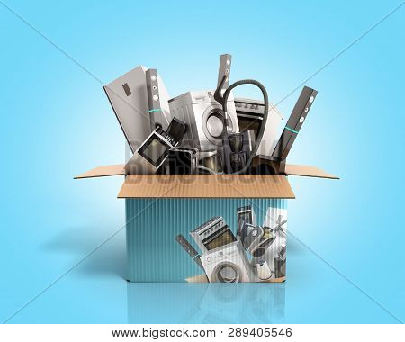Concept Of Product Categories Large Household Appliances Crashes Out Of The Box 3d Render On Blue