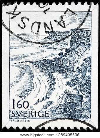 Luga, Russia - February 17, 2019: A Stamp Printed By Sweden Shows Beautiful Veiw Of Stora Karlso - S