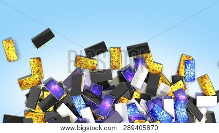 Heap Of Smart Phones On Blue Background With Place For Your Text 3d Render Illustration
