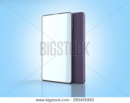 Modern Full Screen Smart Phones 3d Render On Blue
