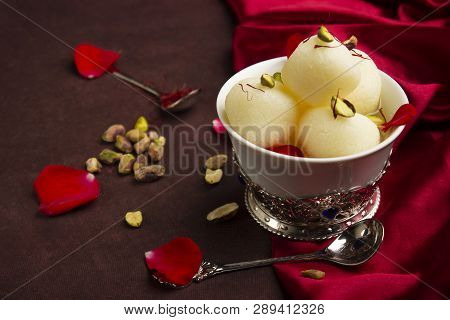 Bowl Full With Rasgulla And Pistachios, A Food Table Top, Pune, India