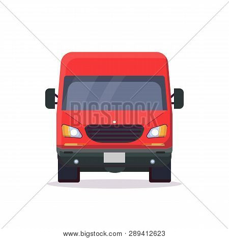 Front View Of Red Delivery Truck. Flat Style Vector Illustration. Vehicle And Transport Banner. Deli