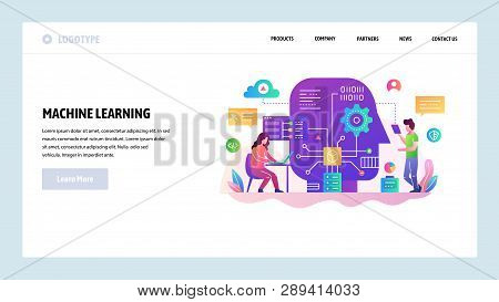 Vector Web Site Design Template. Machine Learning And Ai Artificial Intellegence, Robot Technology,