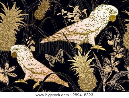 Fauna And Flora Of Rainforest. Seamless Vector Background. Parrot, Orchid Flowers, Butterfly And Pin