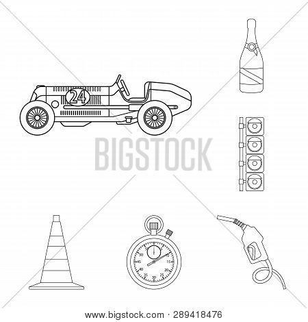 Vector Design Of Car And Rally Sign. Collection Of Car And Race Vector Icon For Stock.