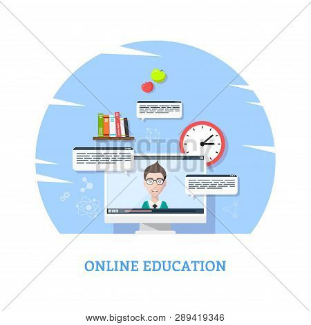 Flat Style Template Design For Online Webinar, Online Education, Distant Education Technology Concep