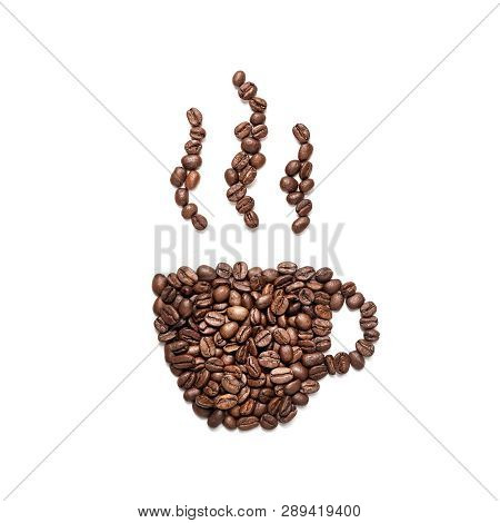 Coffe Cup Icon Made Of Coffe Beans Isolated On White Background With Copy Space