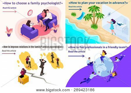 Set Template Design Article Banner Family Psychology And Conflicts, Vacation, Freelance.