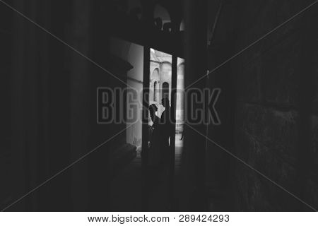 Romantic Black And White Photo Of Bride And Groom Embracing Each Other. Couple In Love Silhouette In