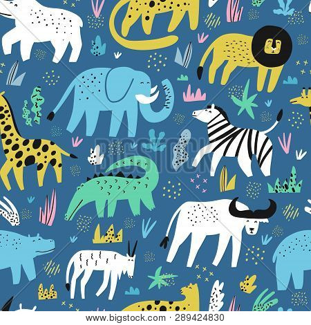 African Animals Flat Hand Drawn Color Seamless Pattern. Cute Jungle Creatures Cartoon Characters. Ra