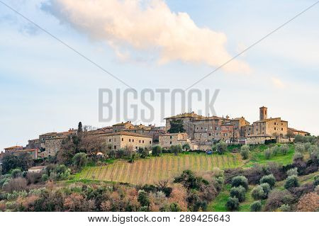 Medieval village of Castelnuovo dell'Abate poster