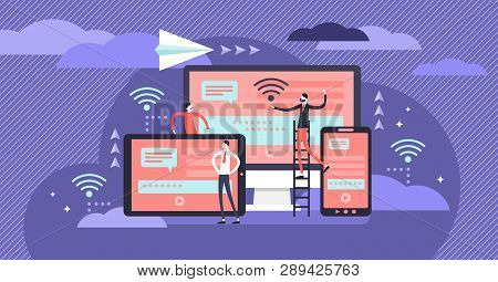 Cross Platform Vector Illustration. Flat Tiny It Applications Persons Concept. User Common Technolog