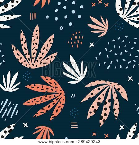 Plants Leaves Hand Drawn Vector Seamless Pattern. Stylized Marijuana Flat Illustration. Indoor Plant