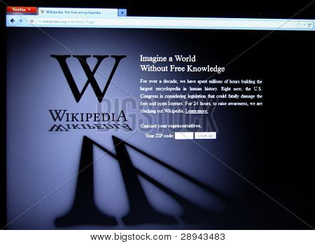 SAN FRANCISCO, CA - JAN 18: Wikipedia, the largest collaborative online free encyclopedia began a 24-hour