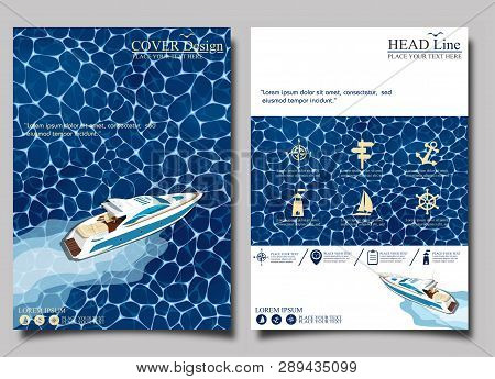 Top View Speed Boat On Water Poster. Luxury Yacht Race, Sea Regatta Posters Set Vector Illustration.