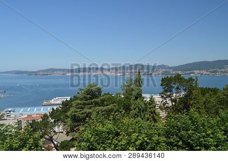 Views Of The Bay Of Vigo From The Mountain Of Castro In Vigo. Nature, Architecture, History, Travel.