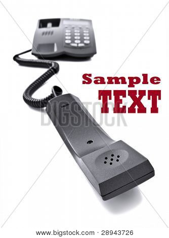 Black telephone isolated  on white with space for text