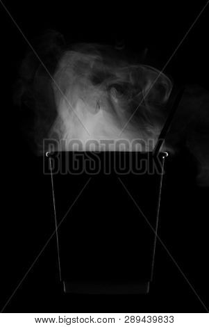 Silhouette Paper Eco Cups For Hot Drinks With Steam Isolated On Black Background