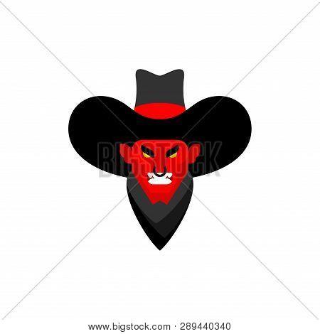 Demon Cowboy Face. Wild West Devil Gunfighter. Angry Western Daemon