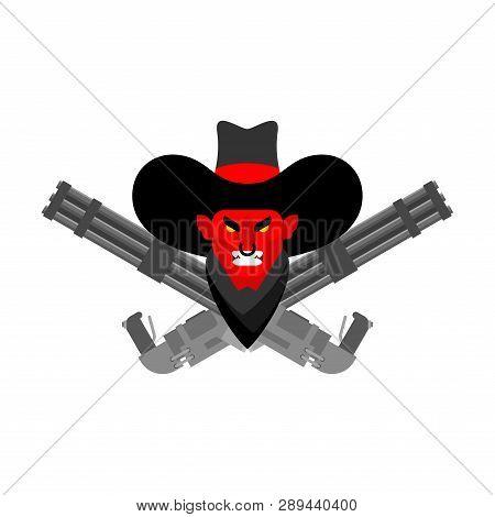 Devil Cowboy Face And Gun. Crossed Minigun. Wild West Demon Gunfighter. Angry Western Daemon