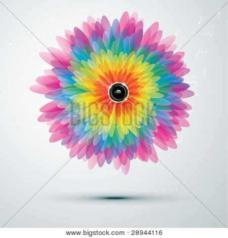 Big rainbow flower with golden speaker. vector illustration eps10