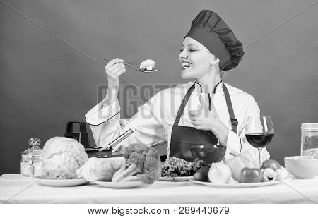 Healthy Ration. Woman Professional Chef Hold Spoon With Raw Mushroom. Dieting Concept. Girl Wear Hat