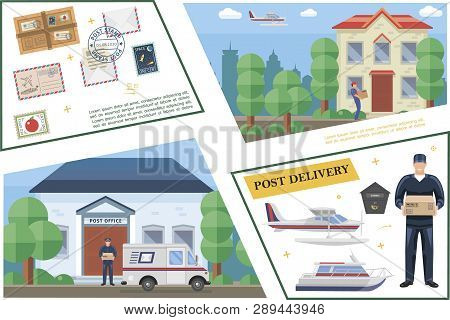 Flat Post Service Template With Postman Postbox Post Office Yacht Float Plane Van Package Delivery M