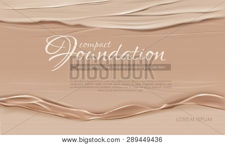 Cosmetics Background 3d Realistic Vector With Face, Tonal Cream Liquid Flow Texture And Typography I
