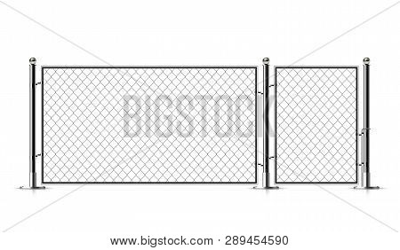 Realistic Metal Chain Link Fence. Rabitz. Art Design Gate. Cemetery Fence, Hedge, Prison Barrier, Se