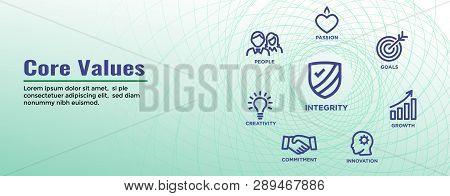 Core Values Web Header Banner Image W Integrity, Mission, Etc Icon Set